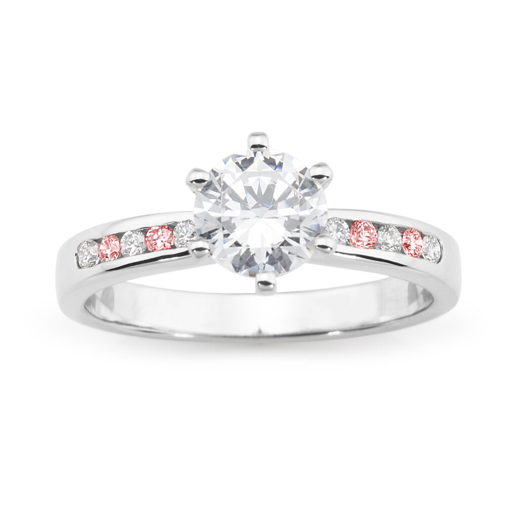 Competition DM Jewellers Maroochydore-18ct White Gold or Platinum w Pink Diamonds Engagement Ring-1755V70P